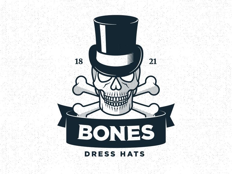Bones Logo ribbon bones skull vintage old rustic practice logo logo design