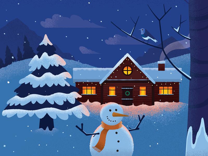 Festive Scene ☃️ illustration grain robin tree night house snow festive seasonal holidays christmas