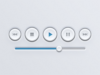 Player Buttons UI button buttons player controls player buttons control buttons blue blue buttons simple design ui design ui practice play ffw rwd stop pause volume icons slider volume slider volume control round button round buttons bevel player ui