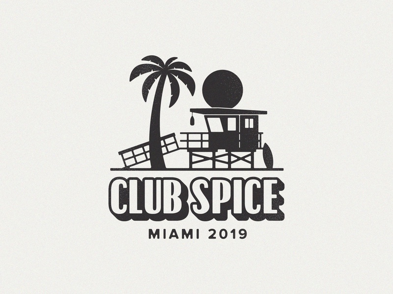Club Spice Logo retro miami palm tree beach hut surf beach logo design logo