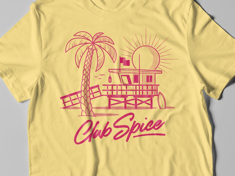 Club Spice Tee palm tree tee yellow miami surf symbol sun pink retro t-shirt tshirt