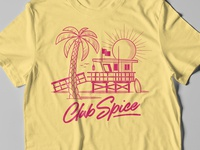 Club Spice Tee palm tree tee yellow miami surf symbol sun pink retro t-shirt tshirt