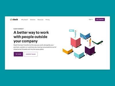 Slack Connect Landing Page art direction web illustration design