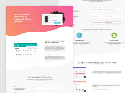 One-time products feature page recharge landing page web design website feature
