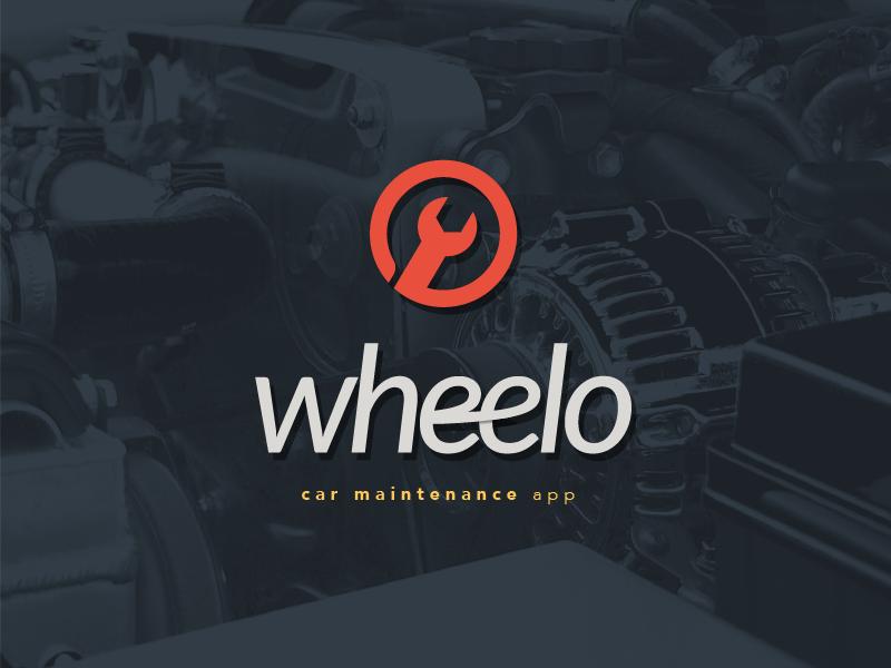 Wheelo branding web app car maintenance car logo