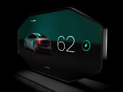 Automotive Dashboard UI for Electric Car CG Animation & Design cinema4d aftereffects animation design 3d concept prototype automotive dashboard car design app interface motion design ux ui animation