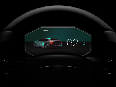 Automotive Dashboard Steering Wheel Perspective UI for E Car design demo app interactive prototype concept cinema 3d motion animation cg uiux automotive interface car