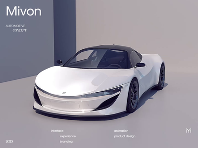 Mivon Automotive E-Sportscar Product and UI/UX Concept render interface interaction product design branding concept design animation automotive car