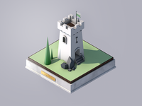 Isometric Watchtower 3D Model