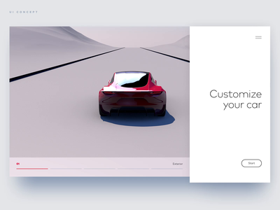 Automotive 3D configurator UI/UX Animation