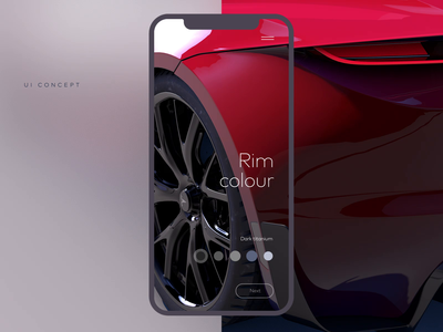 Automotive 3D configurator UI/UX Animation Macro Shot Concept