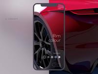 Automotive 3D configurator UI/UX Animation Macro Shot Concept