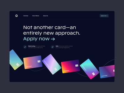Card - Landing page card credit card product landing page colors web typography app