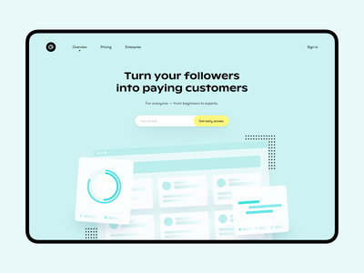 Follower - Landing page illustration app typography product colors landing page website web