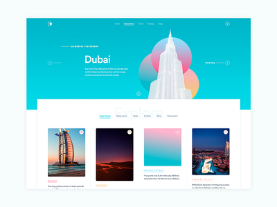 The Curated Travel gradients typography circles colors site travel