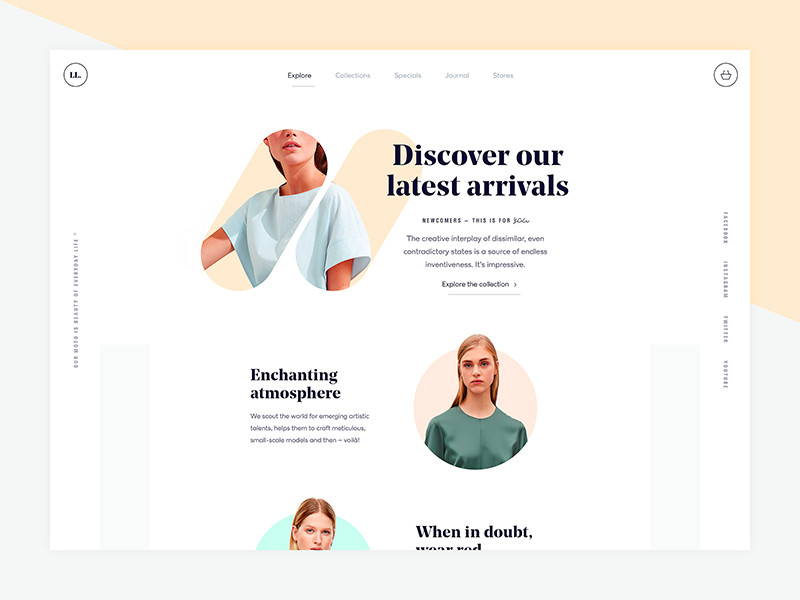 Fashionable clothes shop store minimal typography ecommerce clean fashion