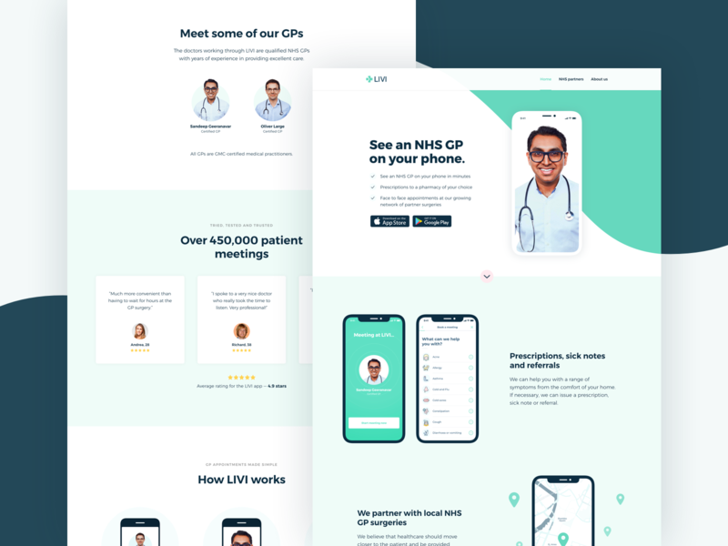 LIVI - See an GP on your phone landing page product design ios colors website web typography app