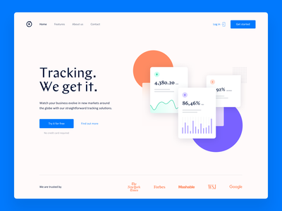 Landing page graphs tracking ui typography landing page product minimal website colors web