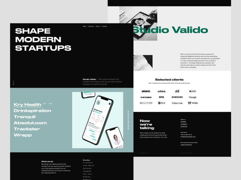 Studio Valido agency landing page studio agency product landing page minimal website web typography