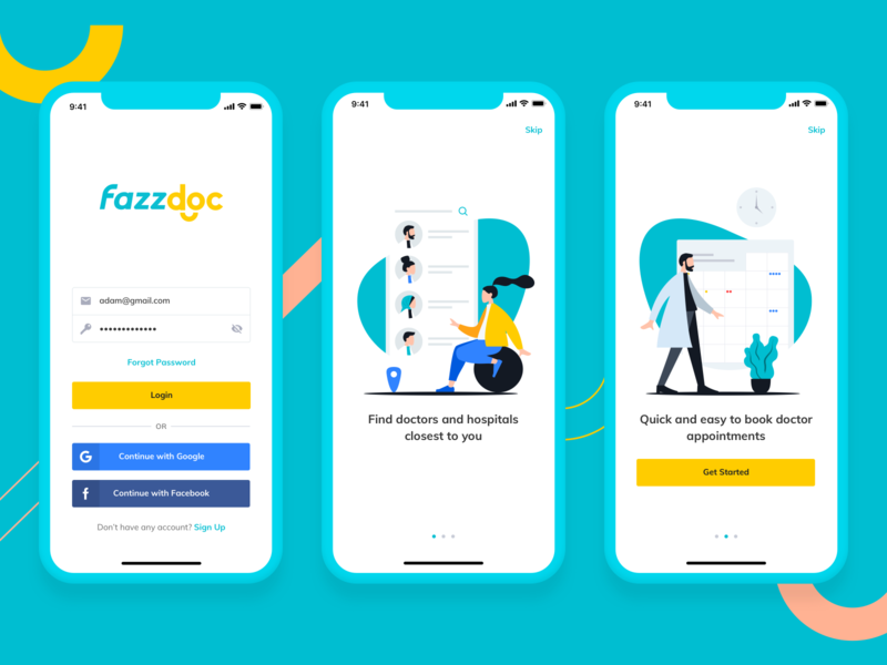 Login and onboarding for Fazzdoc