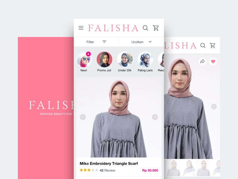 Falisha Hijab veil responsive web clean female hijab ecommerce discover iphone ios ux beauty app ui