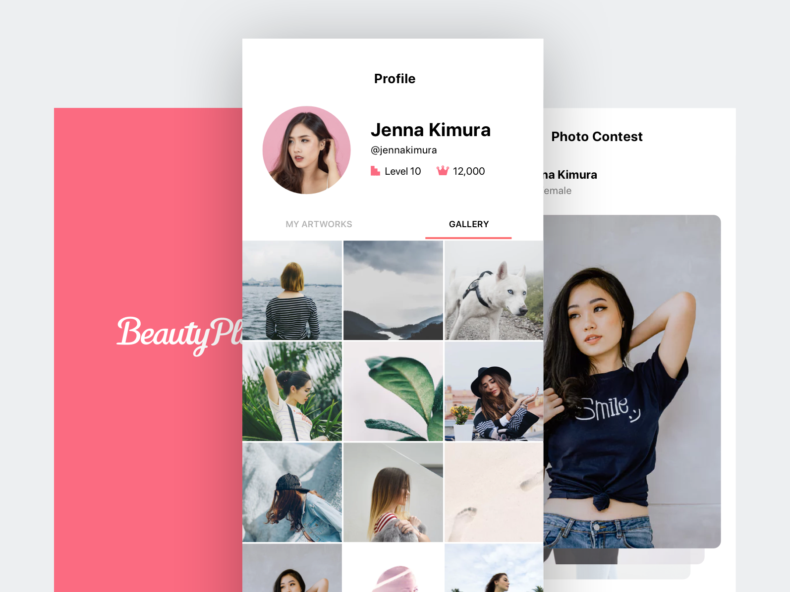 Beauty App gallery contest photo beautify camera android app mobileapp activity feed cards android discover clean beauty iphone ios app ux ui