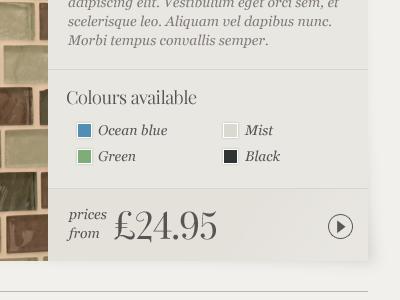 Product colours & price info e-commerce colours price web design web