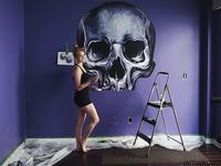 Stylized Skull Mural Progress Shot