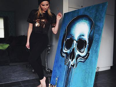 Eulogy Skull Painting artist artwork art mural jamie koala skeleton skulls acrylic painting skull
