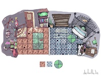 Boardgame children´s room and bathroom