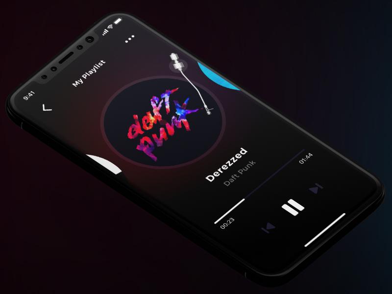 Old vinyl player ux ui player music minimal iphonex interface dark