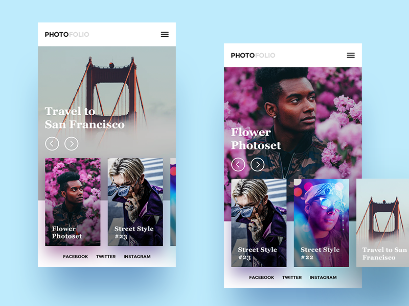 PhotoFolio responsive slider web app mobile photo ux ui minimal
