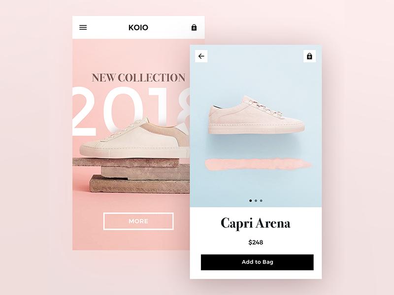 KOIO pink blue minimal product store shop e-commerce app