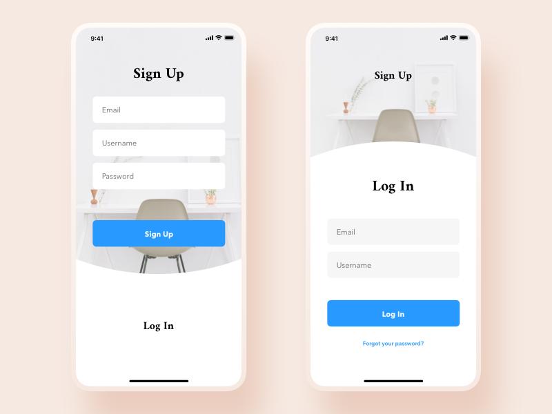Sign Up | Log In white ux ui mobile iphone app design sketch graphics ecommerce signupbutton login