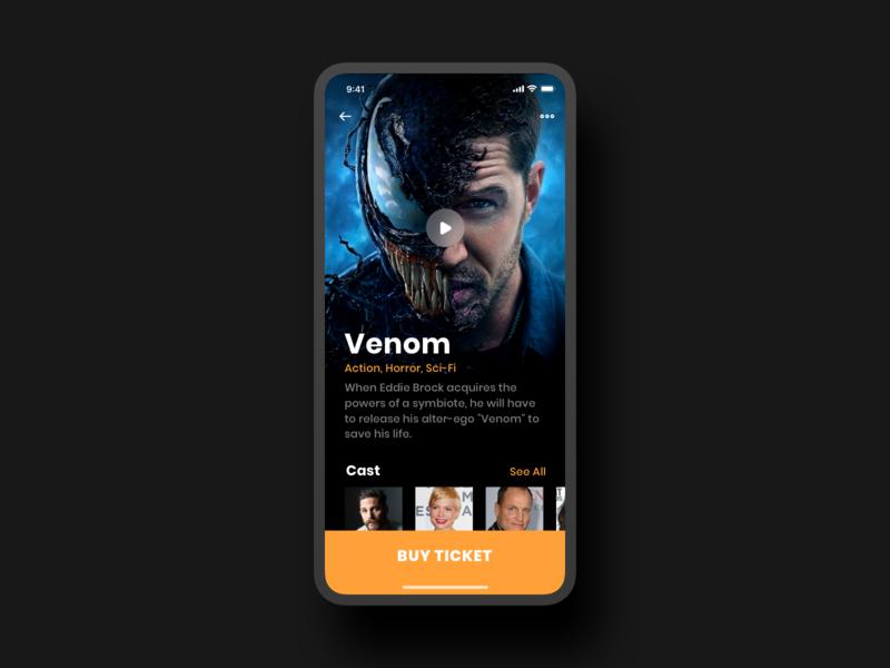 Cinema App movie cinema ticket app design interface photo minimal ui