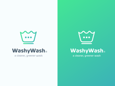 Washywash Logo washingmachine washsymbol symbol concept mobile washywash app green logo laundry