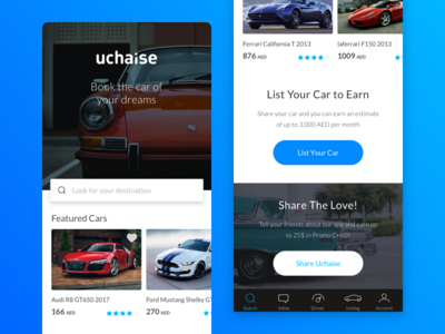 Uchaise Homepage walkthrough vehicle uchaise signup service on-boarding login interaction car book blue app
