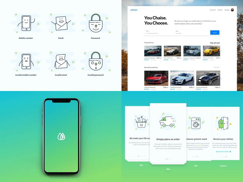 2018 illustration design uchaise washywash laundry car interaction gif mobile app