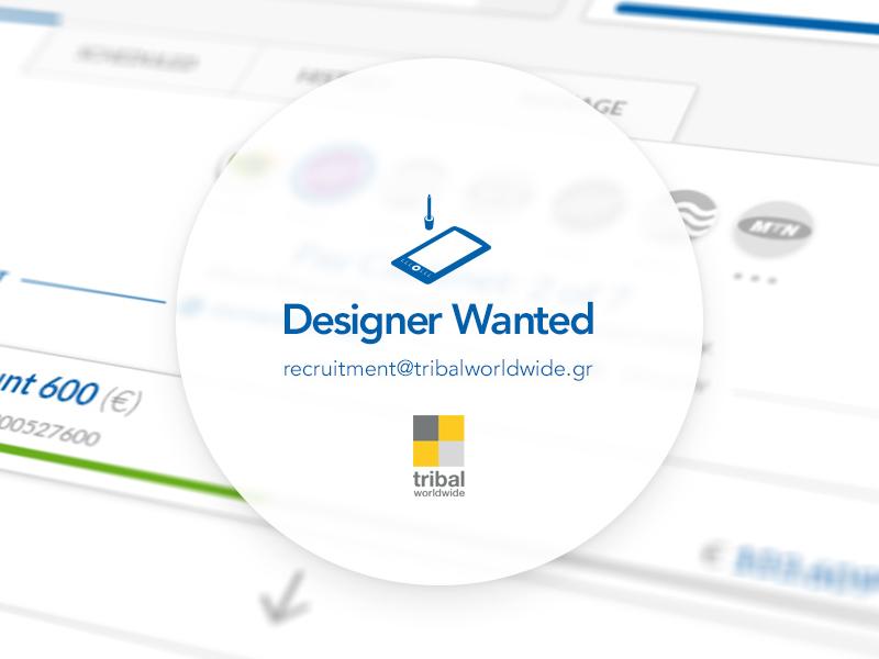 Designer wanted for Tribalworldwide Athens athens tribalwordlwide hiring we are hiring desginer creative team digital job recruitment