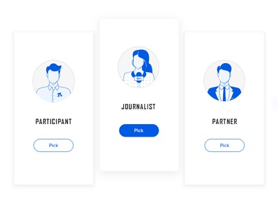 Choose your role in a business forum roles partner participant journalists blue card icons people