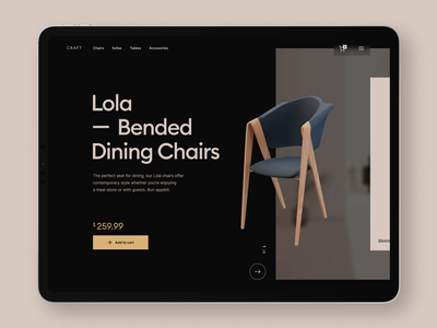 Craft Website - Product page modeling product page tablet clean ui minimalist chair 3d black interface animation ui website