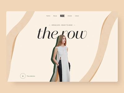 Nude - Website green beige model illustration branding clean daily interface ui animation 2d design minimal minimalist nudes fashion animation website