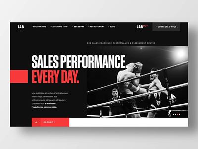 JAB - Website landing sales clean interface website bold boxing box client slider loader landing red white ui black ui animation