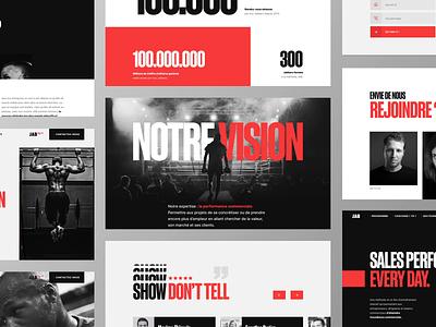 JAB - Website snapshots branding sport about landing interface ui animation website bold drama team sales boxing box red white black minimal clean