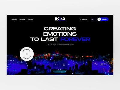 ECA2 - Website homepage typography bold round background video spectacular shows white blue design minimal black clean landing interface website ui animation