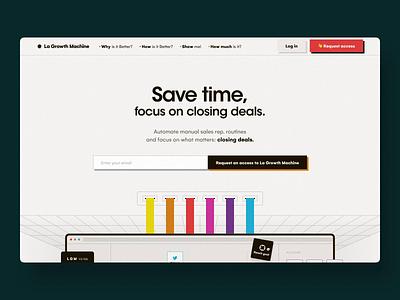 La Growth Machine - Homepage oldschool apple minimal clean interface colorfull product landing sass sales vintage retro ui website