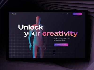 Kinetix - Website Intro sass homepage landing interface website grid mesh gradient gradient minimal clean black retrowave colorful neon retro loader motion 3d animation