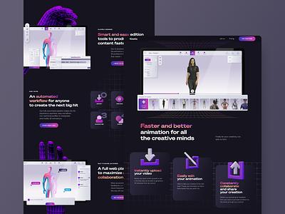 Kinetix - Website landing interface website ui tech clean minimal dark black grid retro startup saas