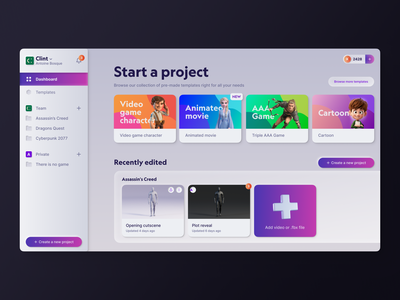 Kinetix - Project manager interface design clean minimal ui software animation saas manager neuemorphism retro dashboard web product