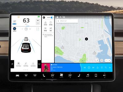 Tesla x Uber - Touchscreen model 3 car 3d animation model 3 interface touchscreen uber tesla